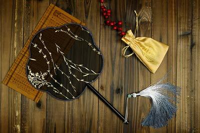 Elf Traditionelle Kostüm - HUWEISZ Handgemachte vergoldete dekorative Hochzeit Hand Fans traditionellen Tanz Fan Kostüm Prop Griff Fan, Stil 11, runden Durchmesser 21cm