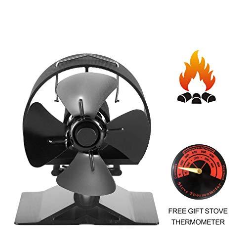 Ofenventilator SF-524, Eloxiertes Aluminium, rund, verdickter Schallschutz, Motor-Design, 4-flügelig, wärmebetriebener Ventilator für Holzofen, schwarz