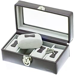 """Davidt's Unisex Watch Box For 4 Watches """"Chrome"""" 378804.34 Grey"""