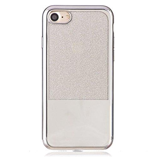 Wkae Galvanisierungsspiegel TPU Schutzhülle für iPhone 7 ( Color : Black ) Silver