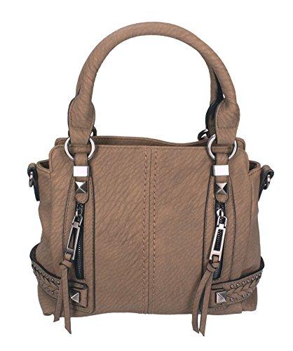Betz. Borsa da donna borsa borsa per donna MILANO 4 borsa in similpelle con chiusura a zip, tracolla e due manici camello