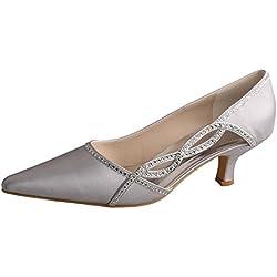 Wedopus , Damen Durchgängies Plateau Sandalen mit Keilabsatz , Silber - silber - Größe: 40