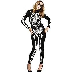 I-CURVES Mujer Sexy Día español de los Muertos Vestido de Disfraces de Halloween con Calavera de Azúcar Todo en un Tamaño de Mono 40-42