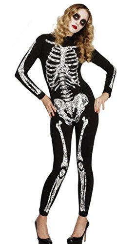 I-CURVES Der sexy spanische Tag Frauen des Toten Halloween-Abendkleides kopierte Zuckerschädel alle in Einem Overallgröße 38-40