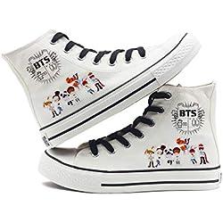 AILIENT BTS Zapatos Moda Suede/Canvas Zapatillas Altas Unisex Adulto Popular Zapatillas Deportivas de Malla Ligera para Mujeres y Hombres Zapatillas Transpirables