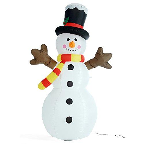Bakaji pupazzo di neve gonfiabile verticale autogonfiabile grande altezza 180 cm con illuminazione a led e kit fissaggio per esterno protezione ip44 addobbo e decorazione natalizia
