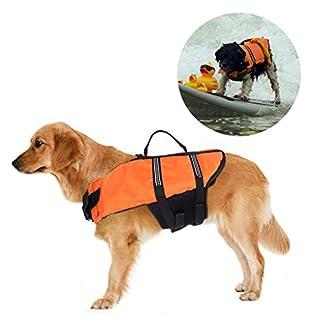 Dog Life Jacket, Jayboson Buoyancy Aid Double Fastening Outward Hound Pet Dog Life Jacket with Velcro and Adjustable Buckle, Dog Floatation Vest,Pet Reflective Saver Preserver Life Vest (Size L) 41wklh2ps1L