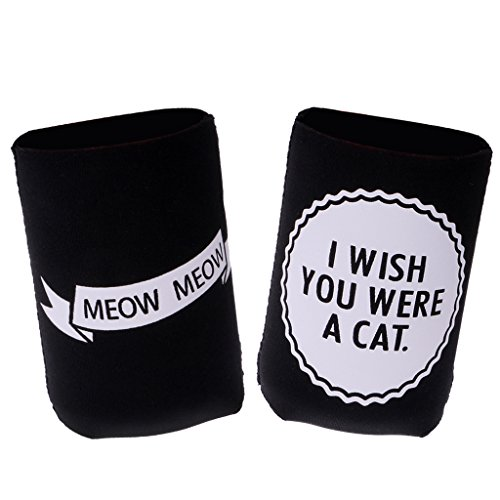 41wklkU PUL. SS500  - Sharplace I WISH YOU WERE A CAT, MEOW MEOW Set Funny Stubby Beer Tin Can Cooler Sleeve Wedding Party Accessories