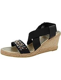 4891fdd525ba4 Ladies Canvas Open Toe Sling Back Elastic Strappy Jewel Raffia Cork Effect Wedge  Heel Fashion Summer Sandal Size…