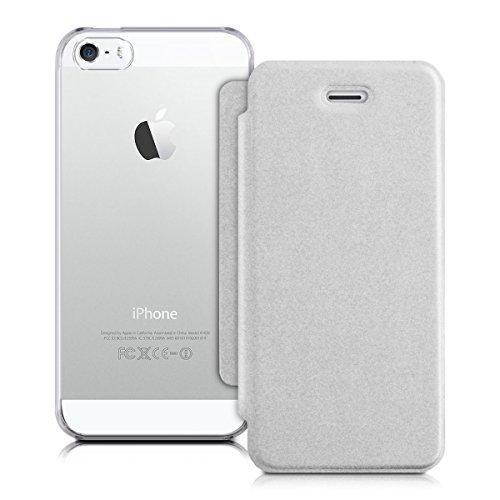 kwmobile Hülle für Apple iPhone SE / 5 / 5S - Bookstyle Case Handy Schutzhülle Kunststoff - Flipcover Klapphülle Mintgrün Transparent .Silber Transparent