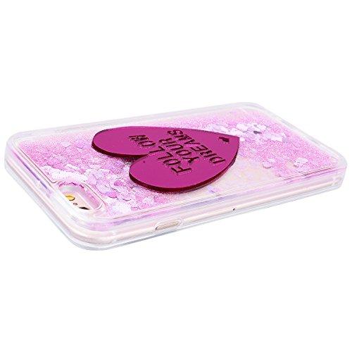 WE LOVE CASE iPhone 6 Plus / 6s Plus Hülle iPhone 6 Plus 6s Plus Schutzhülle Handyhülle Im Rosa Liebe Transparent Durchsichtig Glitzern Funkeln Quicksand Treibsand Muster Handytasche Handycover PC Har Rote Liebe
