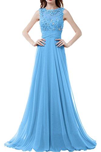 Sunvary Damen Neu Rund Chiffon Spitze Steine Abendkleider Lang Ballkleider Partykleider Blau
