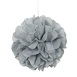 Unique Party Paquete de 3 pompones pequeños de papel de seda Color plata 23 cm 64217