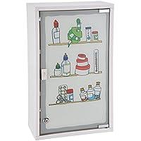 Spetebo Metall Medizinschrank in weiß mit Milchglas und Buntem Aufdruck - Arzneischrank abschließbar in schöner... preisvergleich bei billige-tabletten.eu