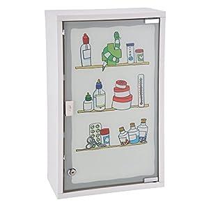 Spetebo Metall Medizinschrank in weiß mit Milchglas und Buntem Aufdruck – Arzneischrank abschließbar in schöner Optik