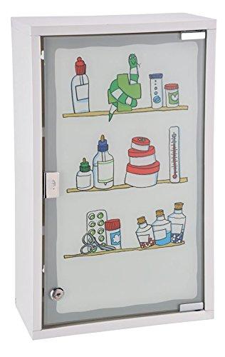 Spetebo Metall Medizinschrank in weiß mit Milchglas und Buntem Aufdruck – Arzneischrank