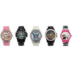 Pink Cookie Ladies-Girls Analogue Pink - White - Black Set of 5 Watches