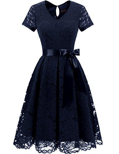 DRESSTELLS Damen Elegant Abendkleider für Hochzeit Herzform Spitzenkleid Cocktail Party Floral Kleid Navy 2XL