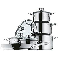 WMF Diadem Plus Topfset, 6-teilig, mit Glasdeckel, Kochtopf, Pfanne, Cromargan Edelstahl poliert, Induktion