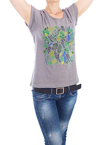 """Design T-Shirt Frauen Earth Positive """"Spring Garden"""" - stylisches Shirt Floral von Pina Lee Grau"""
