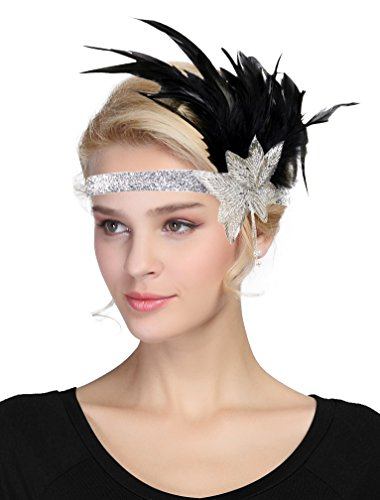 Damen Fascinator 1920s Vintage Flapper Feder Stirnband Derby Party (Silber)