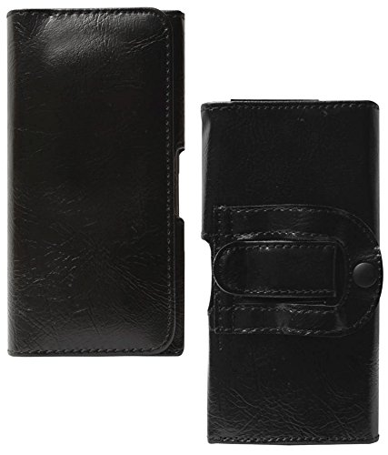 DMG Leather Belt Clip Holster Pouch Case Cover For Micromax Canvas A1 Android One Mobile (Black)