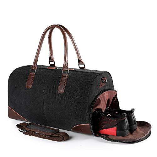 Fresion Retro Sporttasche Reisetasche Herren - Canvas Reisetaschen mit Schuhfach und 15 Zoll Laptopfach, Weekender Handgepäck Tasche mit PU Leder Damen-Schultertaschen Umhängetaschen Männer,Schwarz