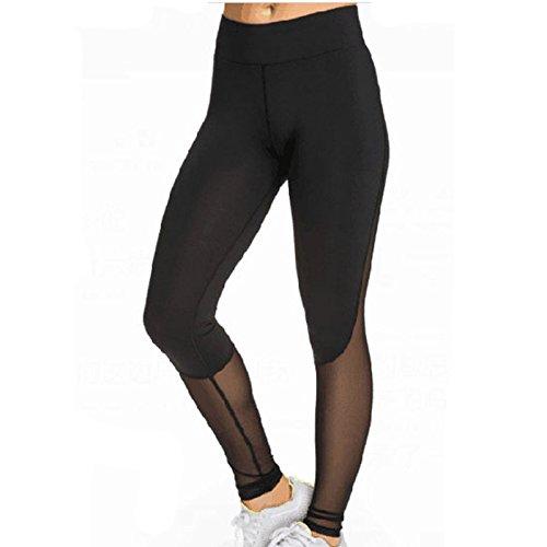 Swallowuk Frauen Mode Sport Fitness Leggings Transparente Netz Garn Patch Elastische Fitness Hose (S) (Patch-fitness)