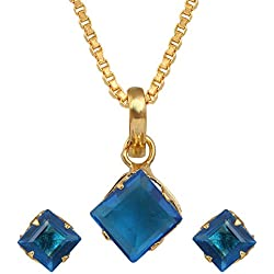Archi Collection Designer Jewellery Blue American Diamond Pendant with Chain and Earrings for Girls and Women