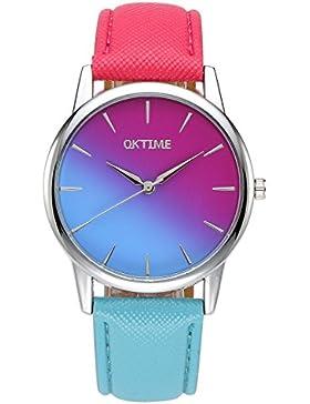 JSDDE Uhren,Fashion Zeitloses Design Damen Armbanduhr Purpurn-Blau Farbverlauf Kleid Uhr PU Lederband Analog Quarz...