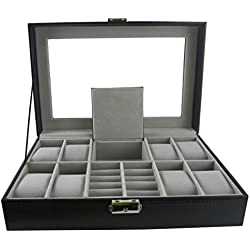 DoubleBlack Deluxe Watch Box for 8 Watches and Rings with Glass Top