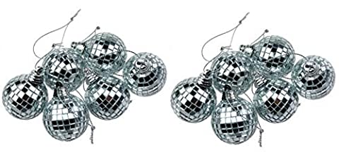 12 Silver Mini Disco Mirror Ball Christmas Tree Bauble Home Party Decoration Gift Fun Room Craft Frozen