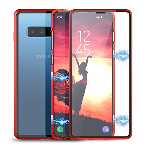 Winhoo Kompatibel mit Samsung Galaxy S10 Hülle Glas mit Magnetisch Panzerglas Displayschutz Durchsichtig Handyhülle 360 Grad Full Body Transparent Hard Case Anti-Kratzer Schutzhülle - Rot Rot Hard Case