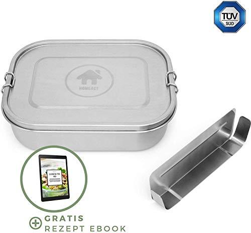 homeAct Premium Edelstahl Brotdose auslaufsicher 1400ml inkl. Flexibler Trennwand   inkl. Rezept E-Book   Frischhaltedose für Kinder & Erwachsene
