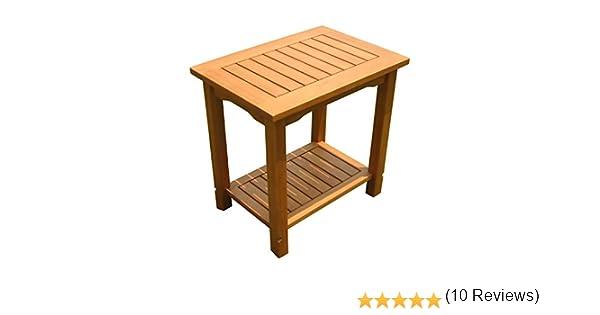 /50/x 35/cm/ Eucalipto/ /Piccolo Tavolo Da Giardino In Legno Con 2/ripiani /Tavolino oliato/