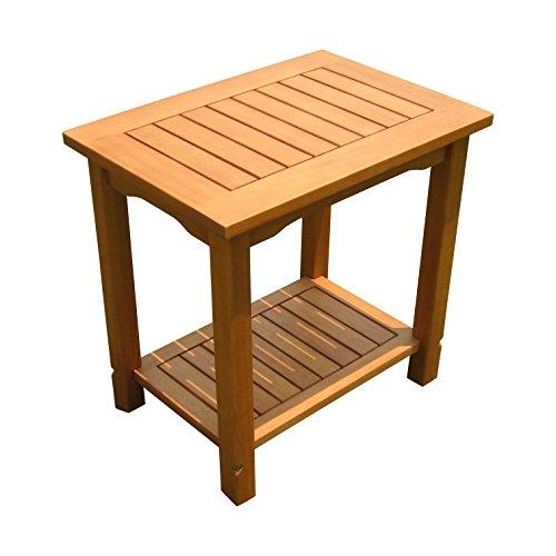 Eukalyptus Beistelltisch geölt - 50x35 cm - Holz Garten Tisch klein mit 2 Ablagen