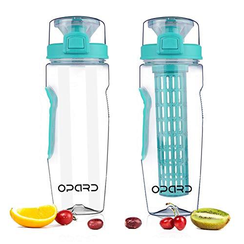 Opard Trinkflasche 900 ml Wasserflasche Fruit Infuser Sports Trinkflasche Water Bottle Tritan BPA-Frei mit Kühlung Obst Flasche Kunststoff (Cyan)