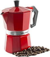 Andrew James Stove Top Espresso Maker Moka Pot in Red 3 Cup Capacity Includes Replacement Silicone Gasket Cool Touch Handle & Flip Top Lid