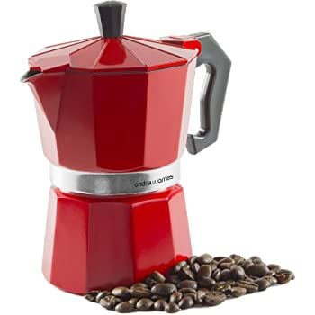 Andrew James Stove Top Espresso Maker Moka Pot in Red (3 Cup), Includes Replacement Silicone ...