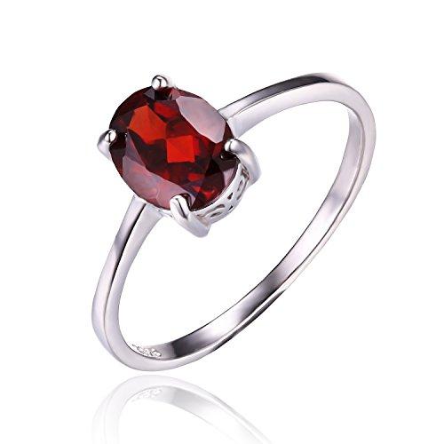 JewelryPalace Donna Gioiello Ovale 1.7ct Naturale Rosso Granato Birthstone Solitario Autentico Anello Argento Sterling 925 Regalo del Ringraziamento Natale