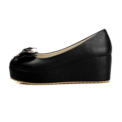 VogueZone009 Femme Tire Pu Cuir Rond à Talon Correct Couleur Unie Chaussures Légeres Noir
