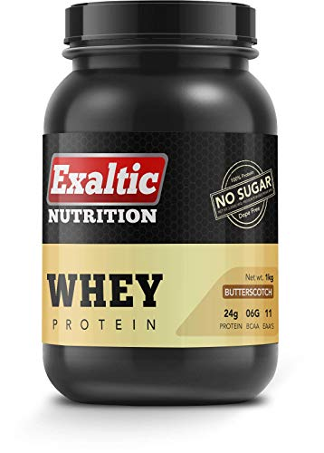 Exaltic Nutrition Whey Protein Butterscotch – 1kg(2.2lb), 80% Whey Protein, 33 Servings, Sugar Free, Natural Sweetener Stevia, Protein 24gm & BCAA 6gm per serving, No Preservatives