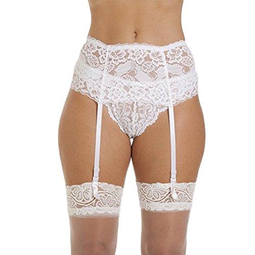 Cszxx donne 4-wide strap lace reggicalze (bianco)