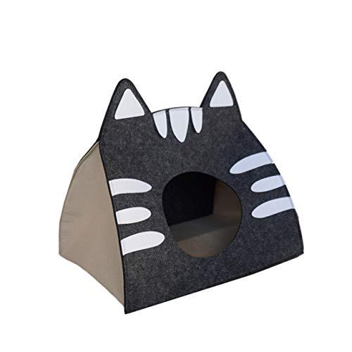 The Pet Cave Design Katzenhöhle inkl. Kissen | Katzenhaus für Mittlere und Kleine Katzen | L in Grau (40x30x40cm)