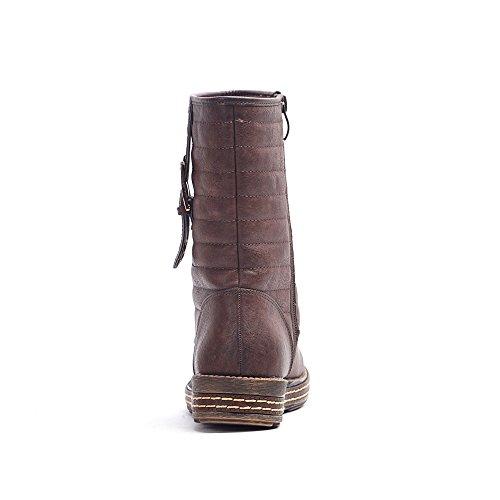 Alexis Leroy da donna Classico in stile fibbia caviglia alta neve stivali Brown