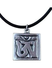 124ae89002 Ciondolo Simbolo OM in Sanscrito placcato argento con collana - Cm 2 x 2