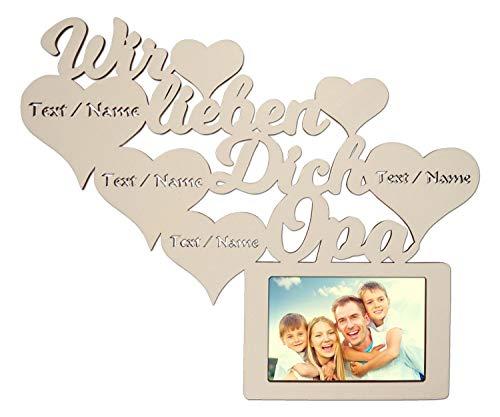 Namofactur Individuelle Opa Geschenke zum Geburtstag I Wir lieben Dich Bester Opa der Welt Bilderrahmen für 10 x 15 cm Foto