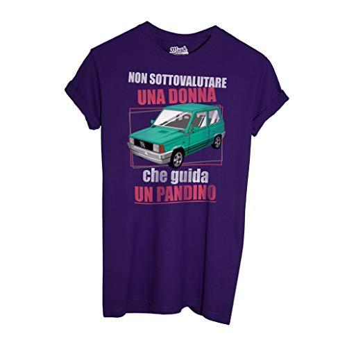 MUSH T-Shirt Non Sottovalutare Una Donna Che Guida Un PANDINO-Panda Fiat - Social by Dress Your Style - Donna-L-Viola