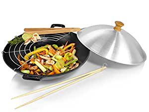 s nger wok set aus gusseisen 5 teilig induktion ma e xh 30x8 cm mit deckel st bchen. Black Bedroom Furniture Sets. Home Design Ideas