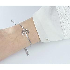 SCHOSCHON Damen Armband Lebensbaum 925 Silber Grau // Geschenkideen Weihnachten Geschenk Baum des Lebens Weltenbaum Freundschaftsarmband Schmuck